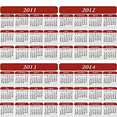 Four Year Calendar in Red