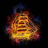 Fiery sail ship.