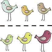 cute little birds standing in a row