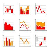 Business Infographic Colorful Charts and Diagrams Set 1