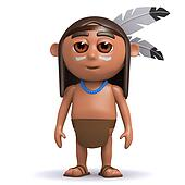 3d Native American Indian