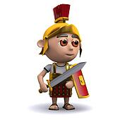 3d Roman soldier sword drawn