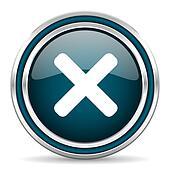 cancel blue glossy web icon
