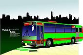 Green-red city bus on town panorama. Coach. Vector illustration