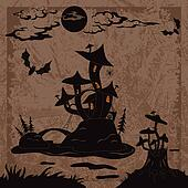 Holiday Halloween landscape with Castle mushroom