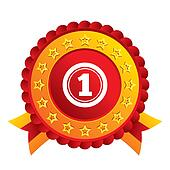 First place award sign. Winner symbol.