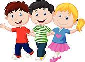 Happy young children cartoon