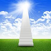 Stairs in sky with green grass, clouds and sun