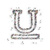 people  shape letter cartoon