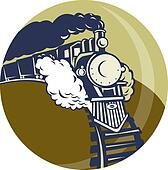 Steam train or locomotive coming up set inside a circle