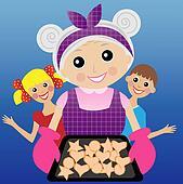 a merry grandmother prepares