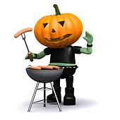 3d Pumpkin head cooks a barbeque