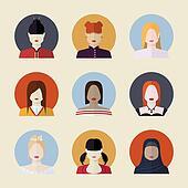 Vector set  of women avatars  different nationalities