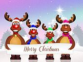 reindeer family at Christmas