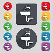 Washbasin icon sign. A set of 12 colored buttons and a long shadow