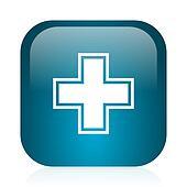 pharmacy blue glossy internet icon