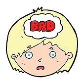 cartoon boy having bad thoughts