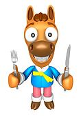 3D Horse Mascot hand is holding a Fork and Knife. 3D Animal Character Design Series.