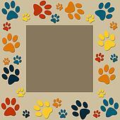 Animal paws   frame in orange, blue