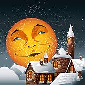Christmas illustration of smiling moon