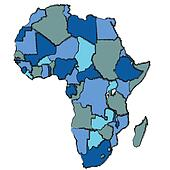 africa map in cold colors