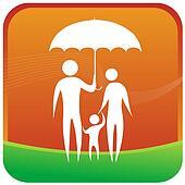 family standing under a umbrella