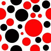 Red and Black Polka Dot Seamless Background