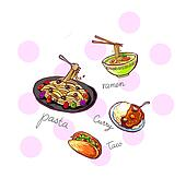 international food icons illustration hand drawn