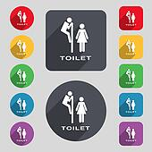 toilet icon sign. A set of 12 colored buttons and a long shadow. Flat design.