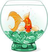 Cartoon Goldfish queen in the aquar