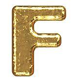 Golden font. Capital letter F