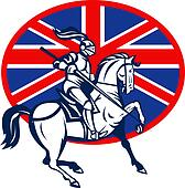 Knight on horse with lance and British or great Britain flag