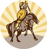 warrior with shield and sword on horse