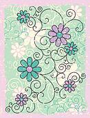 Grunge Flowers and Scrolls
