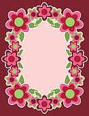Retro Flower Frame_Pink