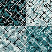 Skeleton Keys Pattern in Black-Blue