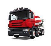 Red Concrete Mixer Truck