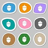 Acorn icon symbols. Multicolored paper stickers.
