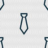 Tie icon sign. Seamless pattern with geometric texture.