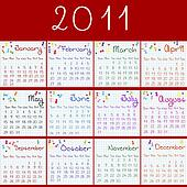 2011 calendar on math pages and red background