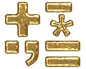 Golden font. Symbols
