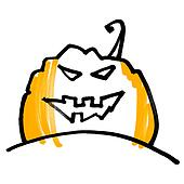 Expressive concise picture pumpkin head. Halloween symbol