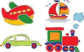 ?hild has drawn car, plane, ship and train, vector