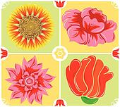 Floral background, icon set, illustration