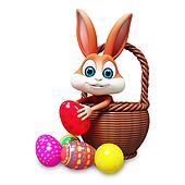 Bunny inside eggs basket