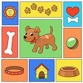 Funny cartoon dog and  icons -  illustration