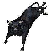 Bull bucking - 3D render