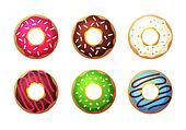 Donut vector set. Colored donuts with cream and glaze. Sweet food cakes donut. Bakery donut, cake food. Six sugar Donut isolated. Donut in the coffee shop
