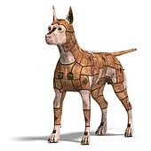 rusty scifi dog of the future.3D rendering with clipping path and shadow over white