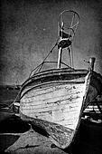 Vintage image of wreck old boat